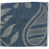 Large Paisley Linen Prussian Blue