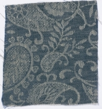 Small Paisley Linen Prussian Blue