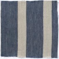 Wide Stripe Linen Prussian Blue